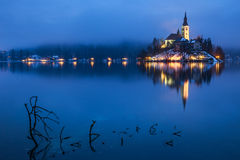 Geblutet mit See im Winter, Slowenien, Europa Stockfoto