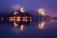 Geblutet mit See im Winter, Slowenien, Europa Lizenzfreies Stockfoto