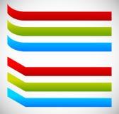 Gebogen banners Gebogen en vouwenversie in 3 kleuren stock illustratie
