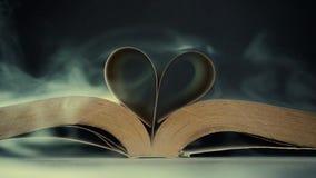 Gebogen boekpagina's in rook stock videobeelden