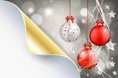 Gebogen document en glanzende Kerstmisachtergrond met Kerstmisballen Royalty-vrije Stock Afbeelding