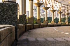 Gebogen gangweg in het park Stock Afbeelding