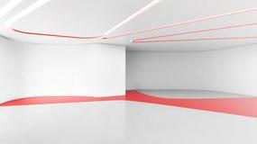 Gebogen Moderne Lege Zaal, het 3D Teruggeven, Binnenlandse ontwerpillustra stock illustratie