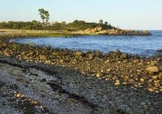 Gebogen oever, rotsachtig strand, Hammonasset-het Park van de Staat, Madison, stock foto