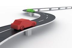 Gebogen wegbrug met auto's Stock Foto