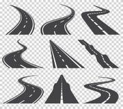 Gebogen wegen vectorreeks Asfaltweg of manier en de weg van de krommeweg Windende gebogen weg of weg met noteringen royalty-vrije illustratie