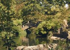 Gebogene hölzerne Brücke Stockfotos