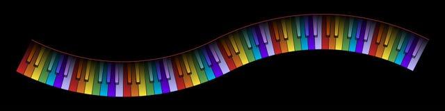 Gebogene Klavier-Tastatur-Farben Stockbild