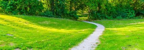Gebogene Parkstraße in einer Landschaftsparklandschaft Lizenzfreies Stockfoto
