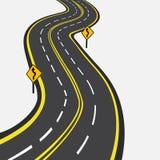 Gebogene Straße mit gelben Markierungen Abbildung Stockbild