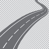 Gebogene Straße mit weißen Markierungen Stockbild