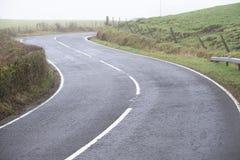 Gebogene weiße Linien und Hecke der leeren Landstraße des Landes stockfotografie