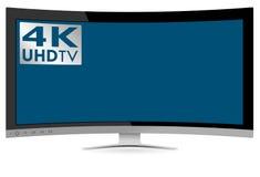 Gebogenes hochauflösendes Fernsehen 4K UHD ultra auf weißem Hintergrund Stockfotografie