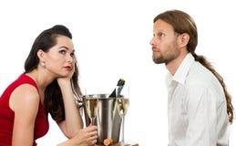 Gebohrte Paare auf einem Datum Lizenzfreie Stockfotos