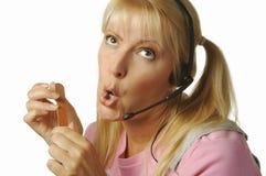 Gebohrtes Kundenbetreuungs-Mädchen Stockfoto