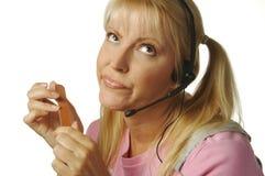 Gebohrtes Kundenbetreuungs-Mädchen Stockfotos