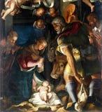 Geboorte van Christus, Bewondering van de herders Stock Afbeeldingen