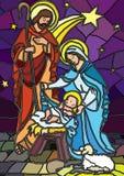 Geboorte van Christus in gebrandschilderd glas. Royalty-vrije Stock Afbeeldingen