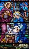 Geboorte van Christus in glas Royalty-vrije Stock Foto