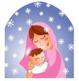 Geboorte van Christus: Mary en baby Jesus Stock Foto