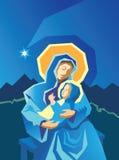 Geboorte van Christus Mary en Baby Jesus Woodcut Stock Foto