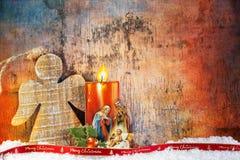 Geboorte van Christus onder Sneeuw stock afbeeldingen