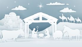 Geboorte van Christuskerstmis Christian Scene stock illustratie