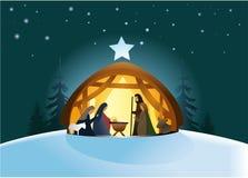 Geboorte van Christusscène stock illustratie