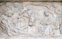 Geboorte van Christusscène, Bewondering van de Herders Stock Foto