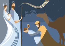 Geboorte van Christusscène en de drie wijzen Stock Afbeelding