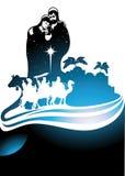 Geboorte van Christusscène en de drie wijzen Stock Foto