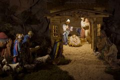 Geboorte van Christusscène, Kerstmis, Geboorte van Jesus, Mary, Joseph, Christen stock fotografie