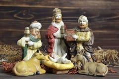 Geboorte van Christusscène met drie koningen en baby Jesus Royalty-vrije Stock Fotografie