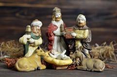 Geboorte van Christusscène met drie koningen en baby Jesus Royalty-vrije Stock Foto's