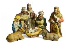 Geboorte van Christusscène met heilige familie en drie die koningen op wit wordt geïsoleerd Royalty-vrije Stock Fotografie