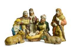 Geboorte van Christusscène met heilige familie en drie die koningen op wit wordt geïsoleerd Stock Afbeelding