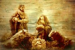 Geboorte van Christusscène in oude houten textuur royalty-vrije stock fotografie