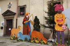 Geboorte van Christusscène in Praag, Tsjechische Republiek Stock Fotografie