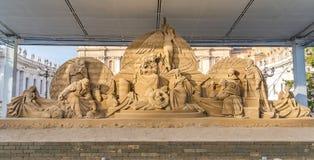 Geboorte van Christusscène in St Piter' s Vierkant in Vatikaan, Italië stock fotografie