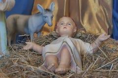 Geboorte van Christusvoederbak Cijfer van Baby Jesus Stock Afbeeldingen