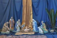 Geboorte van Christusvoederbak Cijfers van Baby Jesus Stock Afbeeldingen