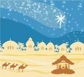geboorte van Jesus in Bethlehem. Stock Afbeelding