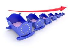 Geboortecijferconcept met de EU-vlag op de wieg Stock Afbeeldingen