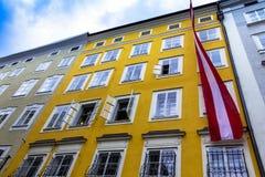 Geboorteplaats van de beroemde componist Wolfgang Amadeus Mozart in Salzburg, Oostenrijk Stock Foto