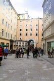 Geboorteplaats van Wolfgang Amadeus Mozart op Hagenau Vierkant Salzburg Stock Fotografie