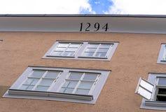 Geboorteplaats van Wolfgang Amadeus Mozart in Salzburg, Oostenrijk Stock Afbeeldingen