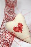 Geborduurd hart en lint Royalty-vrije Stock Afbeelding