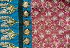 Geborduurd Indisch stoffendetail Royalty-vrije Stock Afbeeldingen