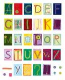 Geborduurde brieven, textiel Stock Foto's