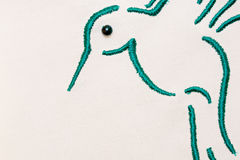Geborduurde groene vogel Royalty-vrije Stock Foto